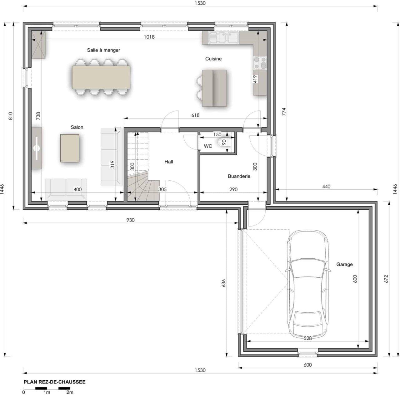 2929cbf3660 Plan rez-de-chaussée maison clé sur porte modèle XL22
